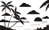 【CX-234】椰树 白云 波浪 矢量图