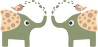 【CX-301】大象喷水 小鸟 矢量图