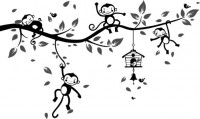 【CX-371】猴子爬树 树叶 鸟笼 小鸟  矢量图