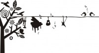 【CX-388】树 小鸟 八瓣花 音符  矢量图