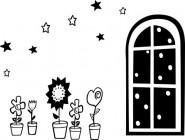 【CX-368】五角星 窗户 心形花 盆栽 矢量图
