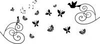 【CX-350】小鸟 蝴蝶 音符 矢量图