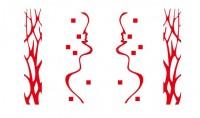 【CX-365】半边树 正方形 线条  矢量图