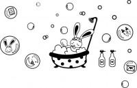 【CX-364】小兔子洗澡 胡萝卜 泡泡  矢量图