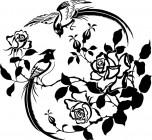 【CX-436】喜鹊 玫瑰  矢量图