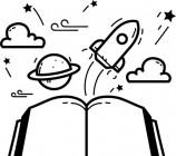 【CX-417】书本 飞船 火箭 白云  矢量图