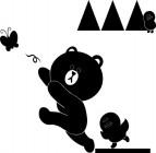 【CX-518】熊猫 蝴蝶 三角形  矢量图