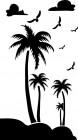 【CX-532】椰树 白云 大雁  矢量图